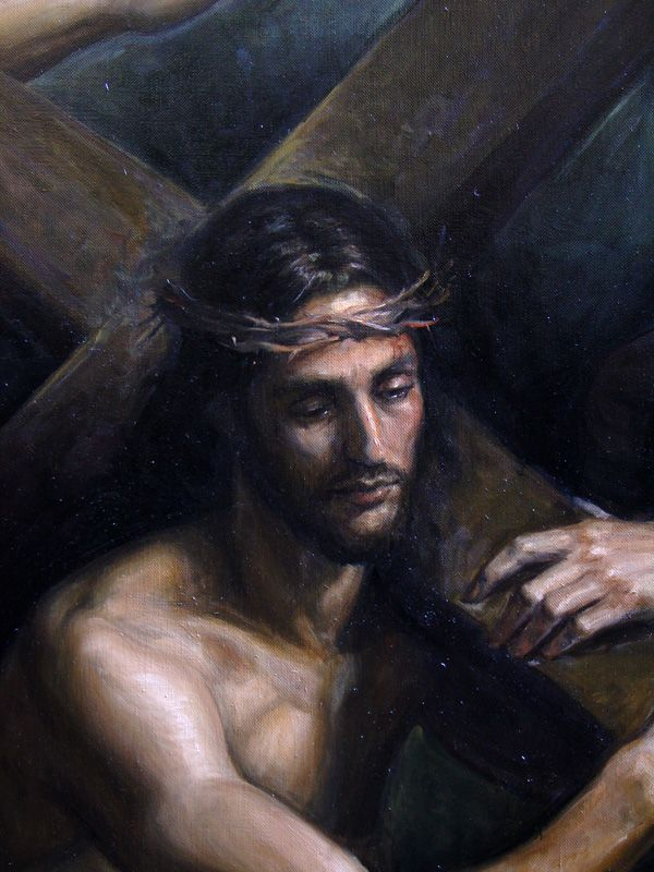 Jesus Carrying the Cross,(detail) oil on linen, life-size figures - Michael James Collins