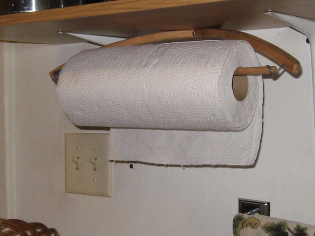 Picture of Paper Towel Holder From a Wooden Pants Hanger                                                                                                                                                      More