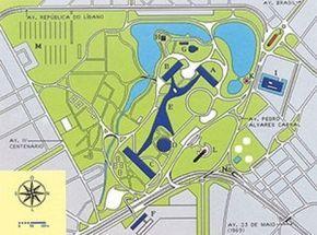 Mapa do Parque Ibirapuera, com desenho da marquise em azul escuro