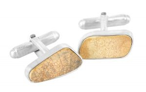 Cracked Blue cufflinks in found porcelain and sterling silver - $195