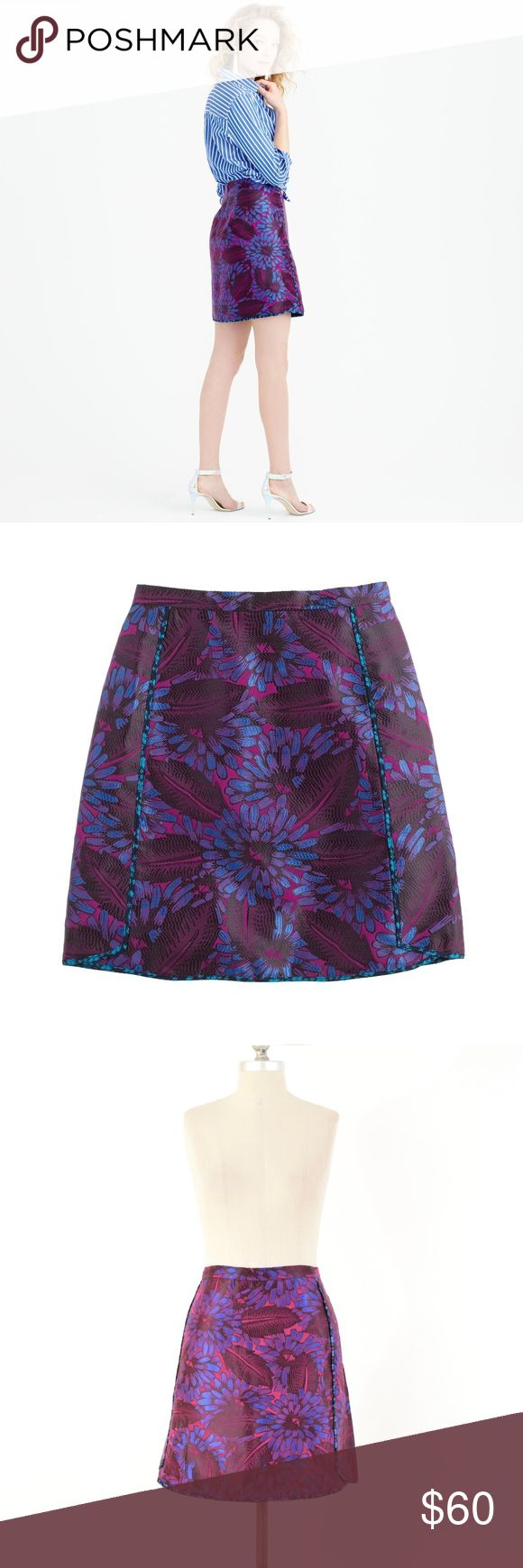 "J.Crew Mini Skirt in Midnight Floral Jacquard Gorgeous brocade/jacquard weave mini skirt from J.Crew. Dark floral pattern called ""midnight floral"", in tones of navy blue and magenta. Contrast pattern piping at the front. Mini length, slightly a-line silhouette. Lined. Size 10.  Length: 19"" Waist: 32"" Hip: 40"" J. Crew Skirts Mini"