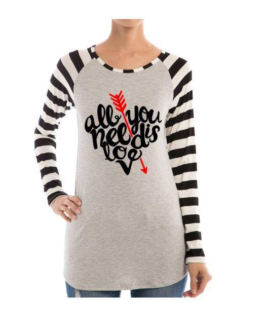 All You Need Is Love Shirt Fabulous Striped Sleeve Raglan ...