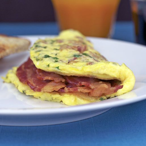 Simple Bacon Omelet Recipe at MrBreakfast.com (with double the bacon!)