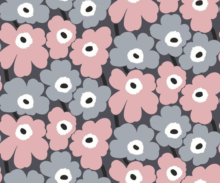 Marimekko Marimekko Pieni Unikko Wallpaper Fog Grey/Dusty Rose/Steel Grey - KIITOSlife - 1