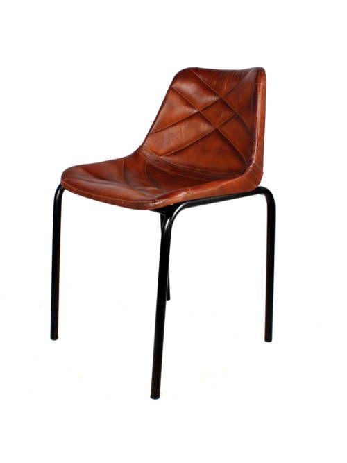 Silla granada interior hierro asiento piel sillas de interior mobiliario ideal - Mobiliario ideal ...