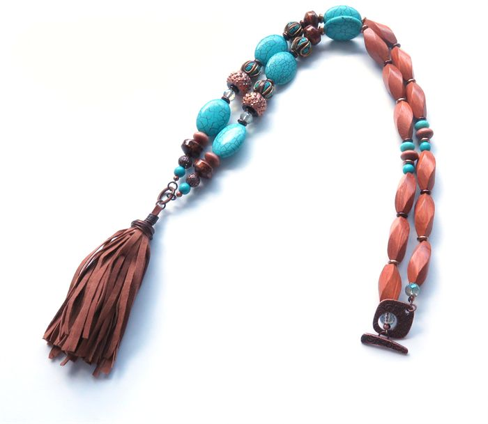 Boho Cowgirl turquoise and wood necklace by Sasha  Max studio