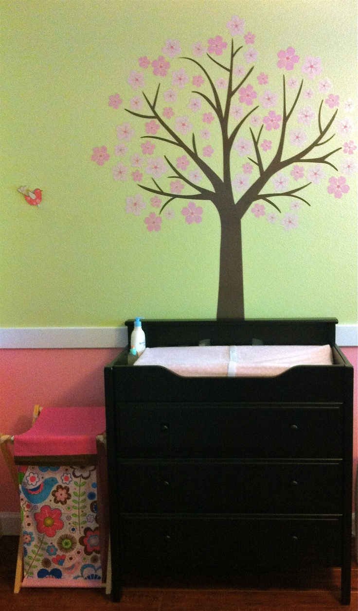 Girl nursery - pink and green with tree