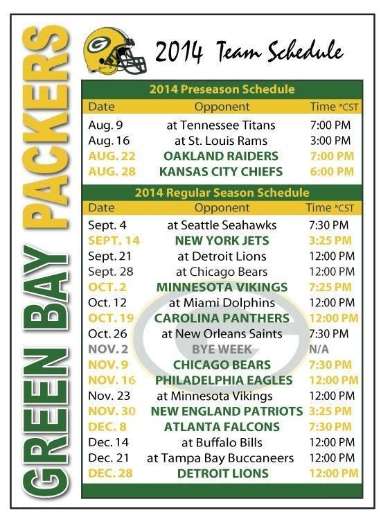 2014 Green Bay Packers Football Schedule
