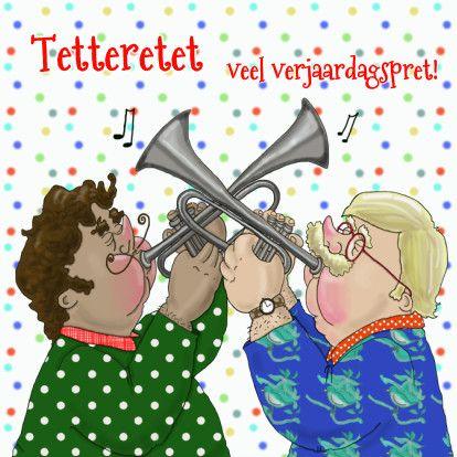 Grappige verjaardagskaart met een trompet serenade voor de jarige, verkrijgbaar bij #kaartje2go voor € 1,89