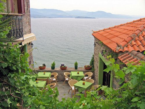 Perfect location for a romantic dinner, Lesbos Island, Greece.