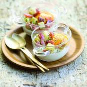 Oeufs bio cocotte, pommes de terre persillées et lardons - une recette Oeuf - Cuisine