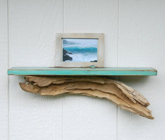 "Shabby-chic driftwood shelf - MADE to ORDER - 24"" light blue beach style reclaimed wood shelf with driftwood accent"