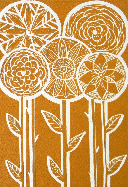 Five Flower Lino Print-Mustard by Mangle Prints, via Flickr