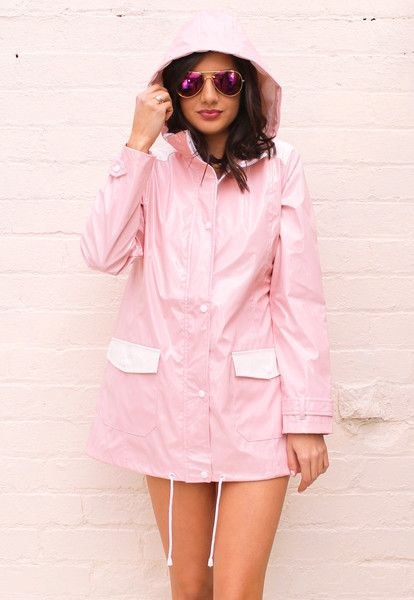 Minnie PVC High Shine Festival Hooded Raincoat Mac in Baby Pink & White - One Nation Clothing - One Nation Clothing - 3
