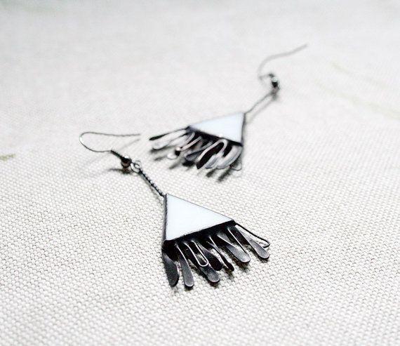 White Black Earrings Weddings Fashion Snow white gift by ArtKvarta, $26.00