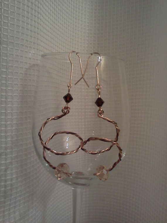 Champagne and Crystal topaz Copper Twisted by ReneaRenee on Etsy, $16.00
