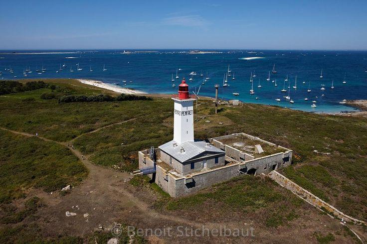 France, Finistère (29), La Forêt-Fouesnant, Iles de Glénan, Ile de Penfret (vue aérienne) // France, Finistère (29), La Forêt-Fouesnant, Glénan Islands, Isle of Penfret (aerial view)