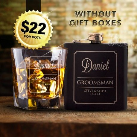 The ultimate groomsman pack at an amazing price. A high quality engraved whiskey glass and quality 6oz engraved matte black hip flask. Our two most popular groomsman gifts supplied together with quality laser engraving at a giveaway price. Pay just $22 for both items, or even upgrade both items to gift boxed sets for $30 total. This pack valued at the $70 mark in engraving stores.Visit link below for more