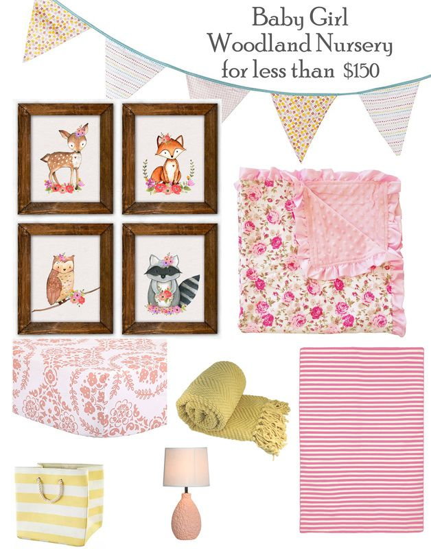 Planning your girl woodland nursery just got easier with this great woodland nursery mood board full of ideas...adorable woodland animals including a cute fox and a cute deer paired with sweet pink florals and fun stripes. Come and have a look!
