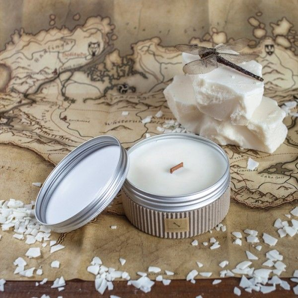Keep your good mood wherever you are with this scented travel candle.