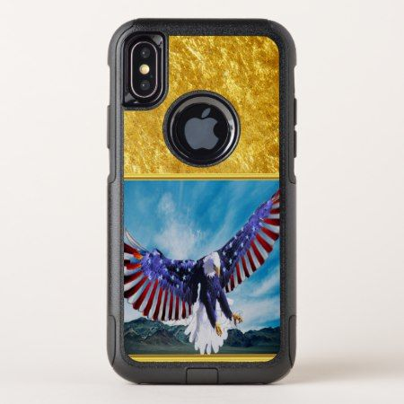 American flag Eagle flying in the sky gold foil OtterBox Commuter iPhone X Case - tap, personalize, buy right now!. Follow link to change to your brand names and styles.#iPhonex #otterbox #protective #cute