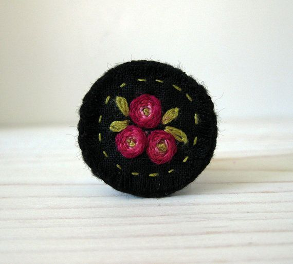Embroidered Brooch  Bright Pink Flowers on Black Linen by Sidereal, $22.50