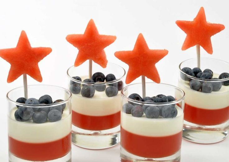 Watermelon and Mint Panna Cotta Parfait - These patriotic parfaits have layers of fresh watermelon gelee, smooth peppermint flavored cream, fresh blueberries and are topped with watermelon stars.
