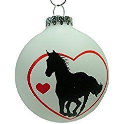 New Glass White Love Horses Bulb Western Cowboy Cowgirl Equestrian Jockey Christmas Tree Ornament