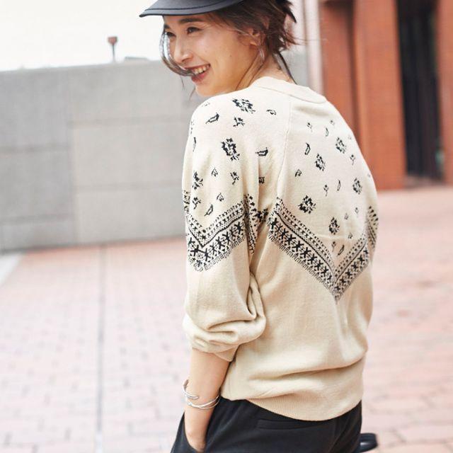 【Bandana print knit】レディース バンダナ柄 ニット