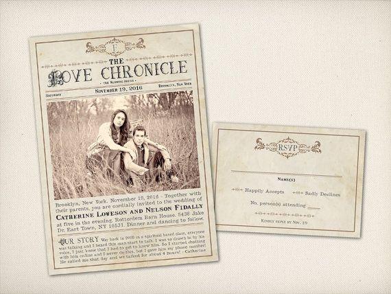 wedding invitation  rustic newspaper  modern vintage  old