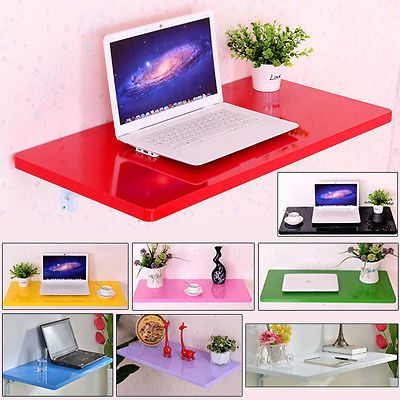 Colorful Wall Mount Floating Folding Computer Desk For Home Office PC Table