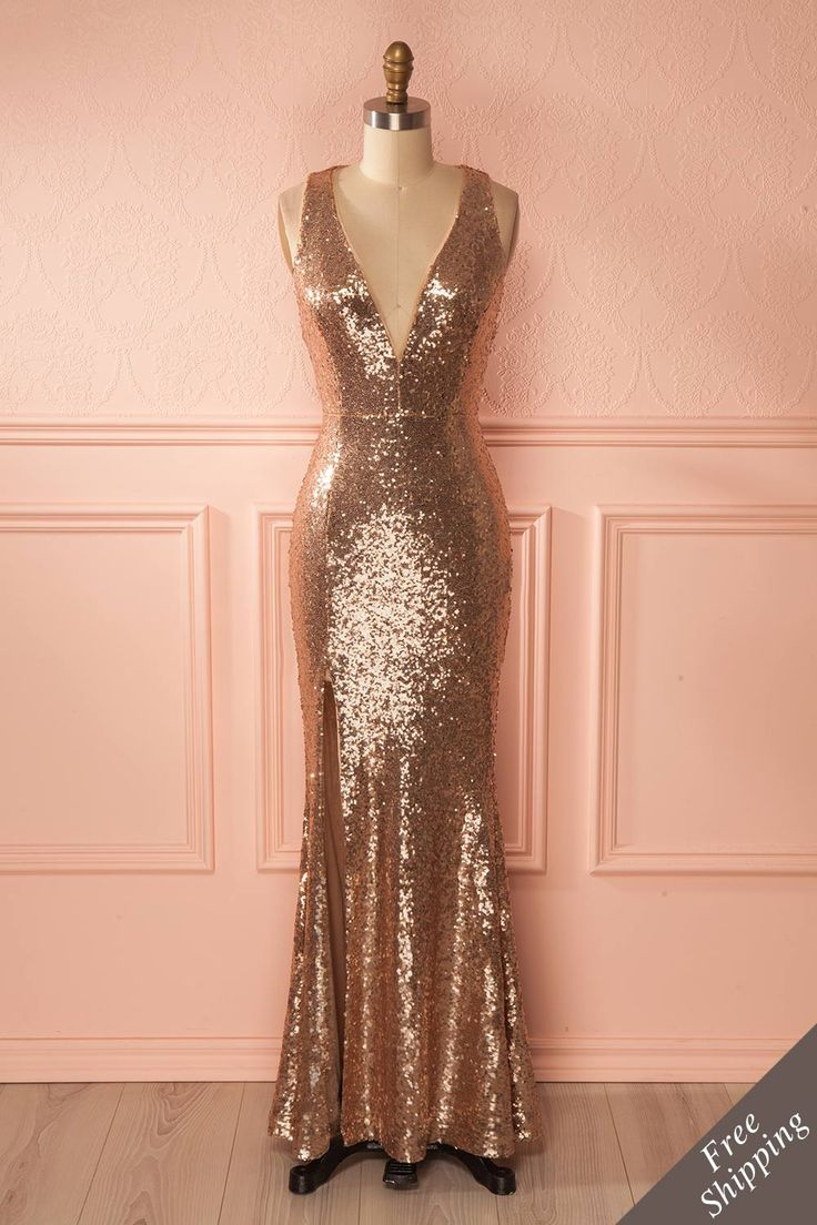 Sharmin - Pink sequins mermaid gown, a fabulous dress to make you shine! #promdresses #sequins