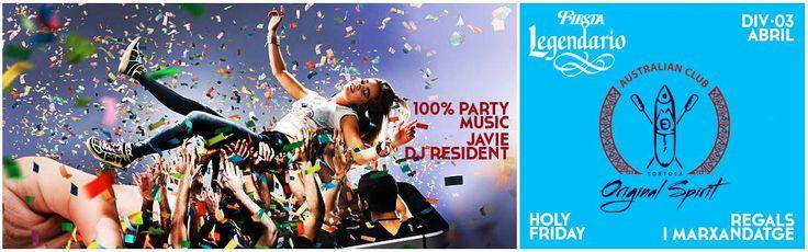 I divendres Sant 03 Abril,per acabar la setmana...Holy Friday-Legendario Party amb desfilada musical dels millors èxits!! A carregar piles que us volem a tope!!! #holy #friday #legendario #party #regals #night #fest #world #dance #music #dj #pascua #setmana #santa #Star #Solar #System #Planet #Earth #Europe #Spain #Catalonia #Tarragona #Delta #del #Ebre #Tortosa #Ferreries #Moet