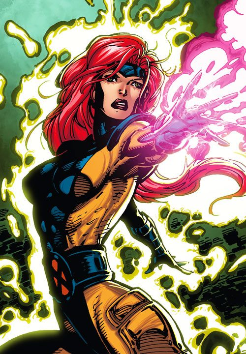Jean Grey of the X-Men (Marvel Comics) by Jim Lee in the orange and blue costume. From http://www.writeups.org/jean-grey-phoenix-marvel-girl-comics-x-men/