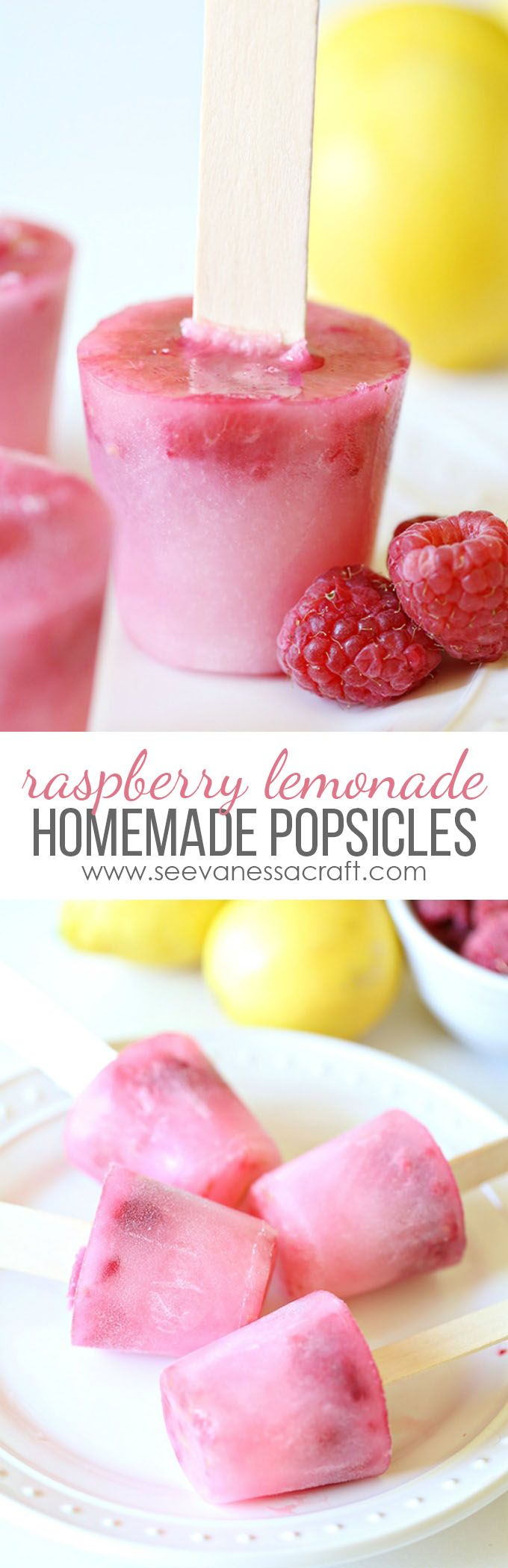 Homemade Raspberry Lemonade Popsicles - a yummy recipe for kids to make this summer!