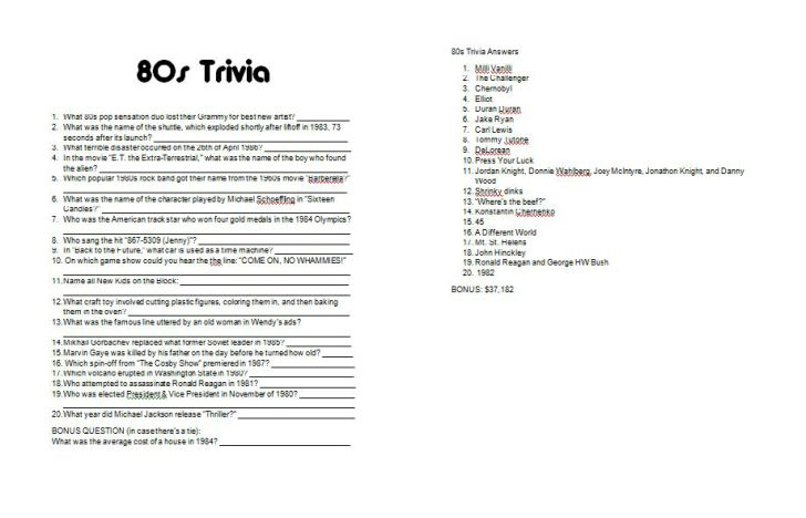 80s themed 30th Birthday Party - free 1980s printable trivia questions and answers  sometimeskatie.wordpress.com