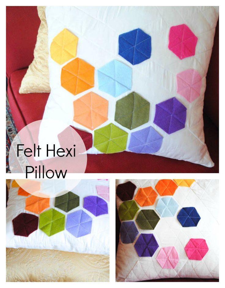 Felt Hexi Pillow Sham tutorial sewing rainbow pillow sham pillow hexi