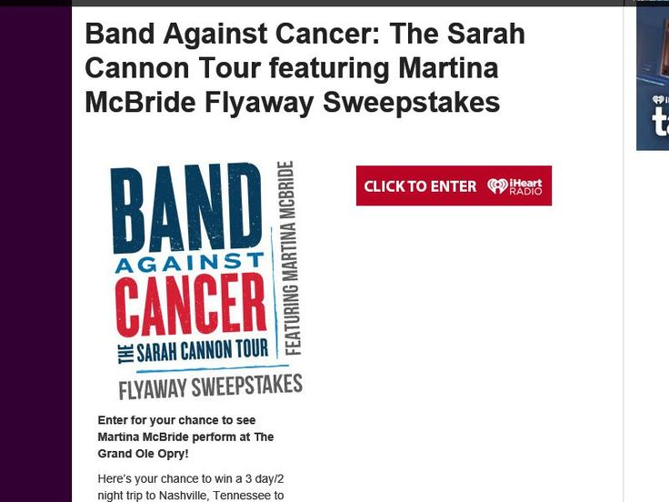 Enter the Band Against Cancer: The Sarah Cannon Tour featuring Martina McBride…