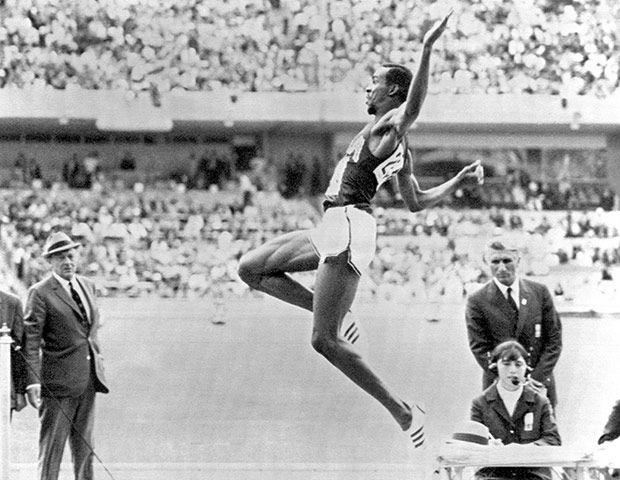 The moment when Bob Beamon destroyed the Olympic long jump record with the perfect leap in the 1968 Mexico Olympic Games