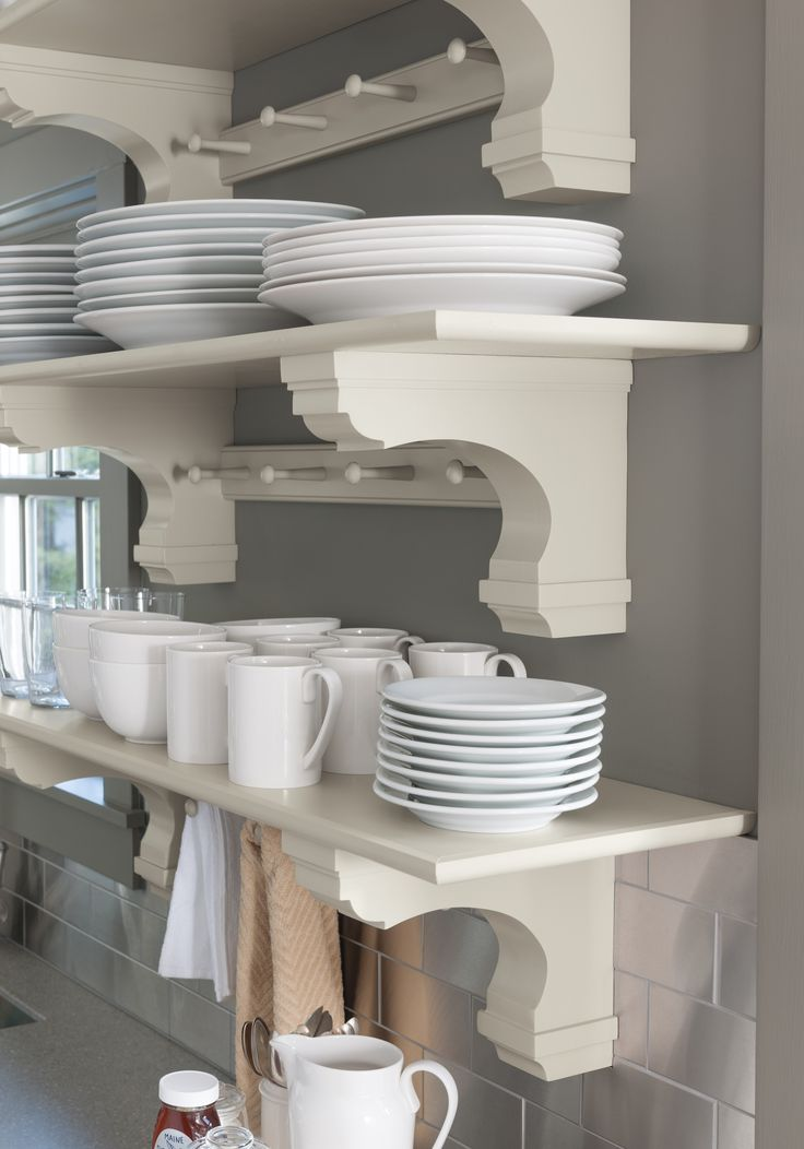 Kitchen Design Tip: Keep frequently used items within reach on open shelving. The Martha Stewart Living kitchen line is available at @homedepot.