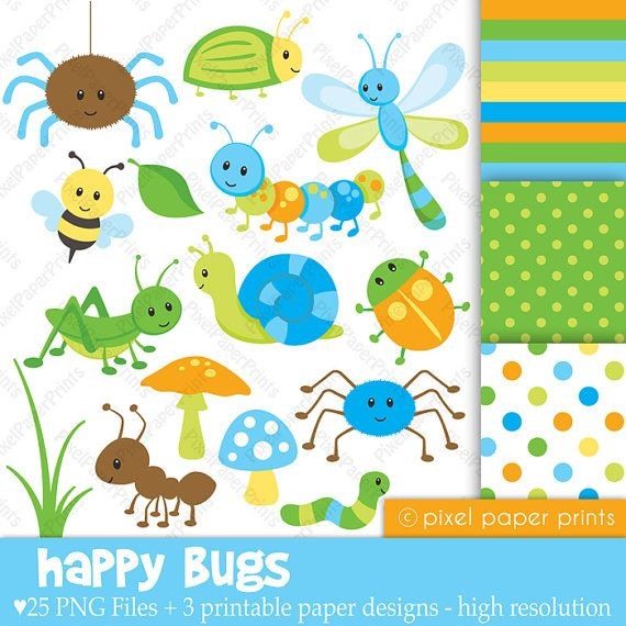 Insectos Felices Set de Clipart y Papeles por pixelpaperprints
