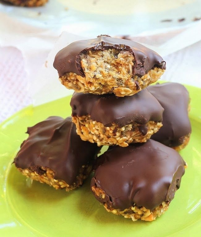 Chocolate Peanut Butter Granola Bars - No-bake, with oats, quinoa, and chia seeds.
