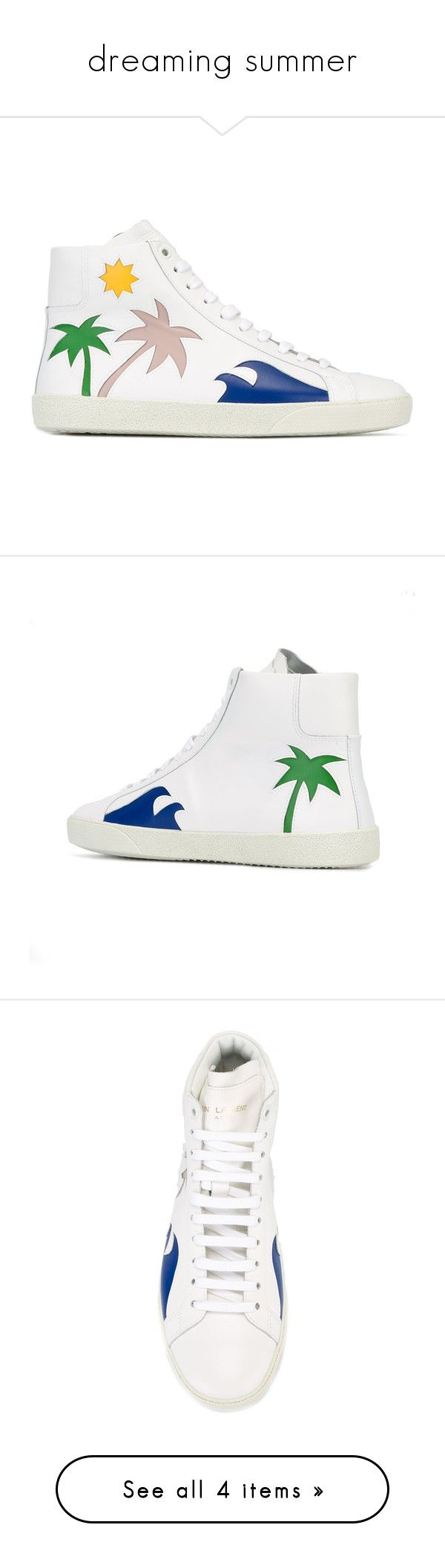 """dreaming summer"" by jofrebcn ❤ liked on Polyvore featuring shoes, sneakers, white, white trainers, white shoes, high top sneakers, white sneakers, white lace up sneakers, white hi top sneakers and white high top shoes"