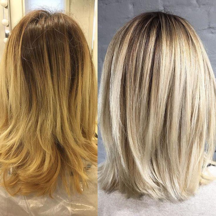 Тонирование блонды мелированные волосы