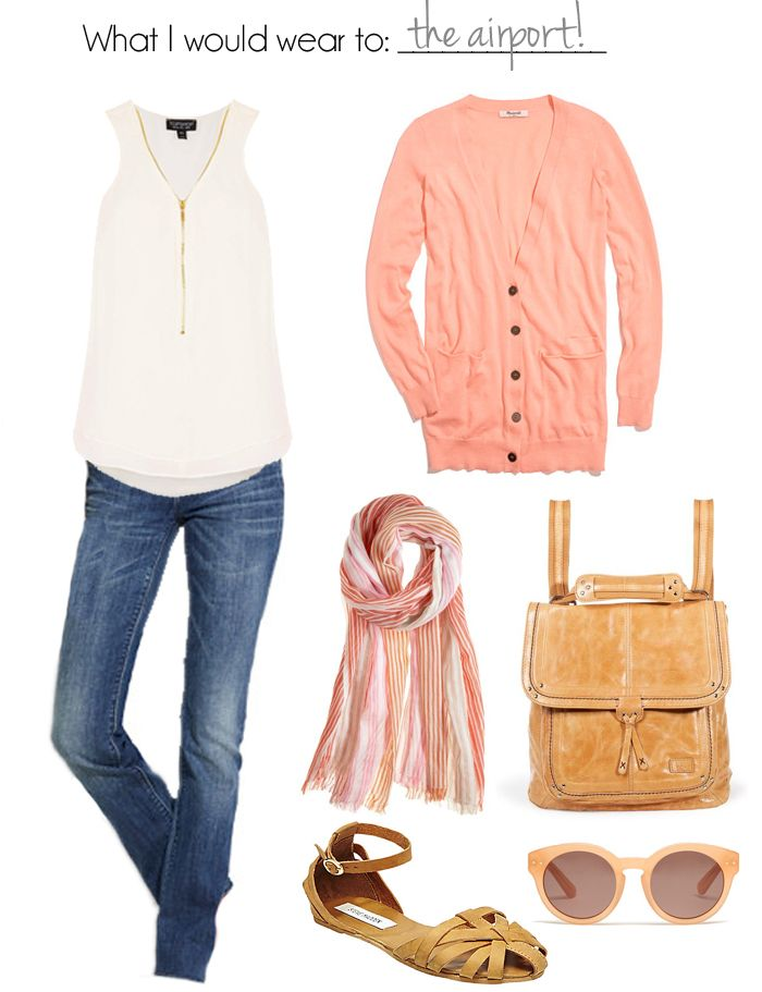 Loving this peachy summer palette! Keep it cute and comfortable at the airport. #Airport #Travel Style