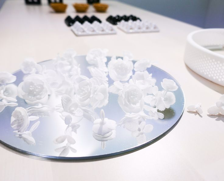 Disassembled Flower Mirror (with 3D printed plastic parts) showcased at London Design Fair 2017, MALINKO Design