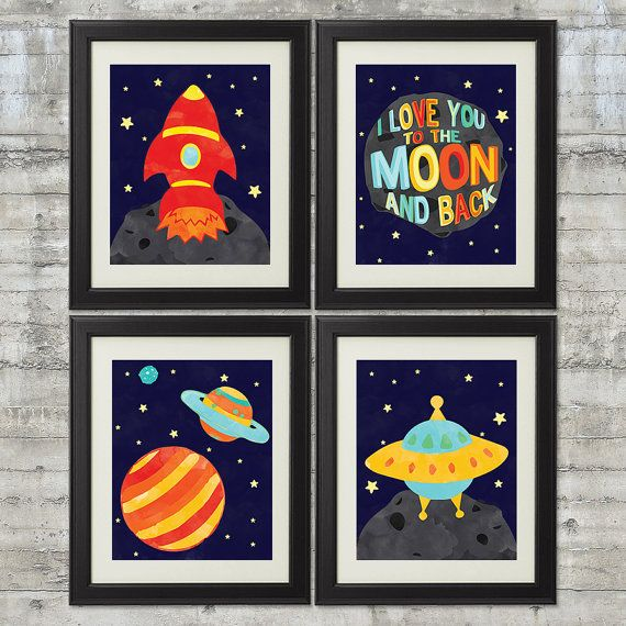I love you to the moon and back - Outer Space Nursery Art , Set of 4-  8x10 Prints , Featuring A Rocket, Spaceship, & Planets on Etsy, $44.00