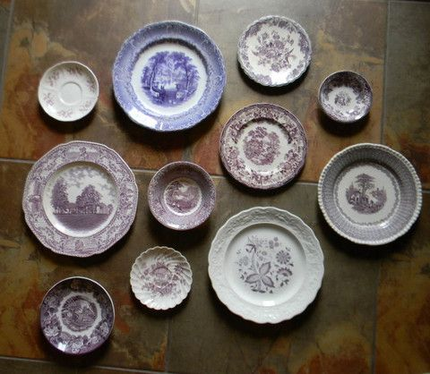 Asymmetrical Wall Arrangement Antique English China Purple Transferware Plates – Nancy's Daily Dish