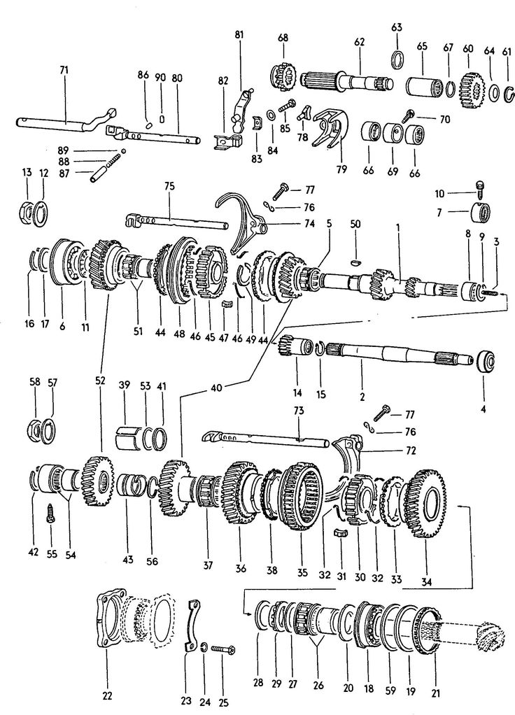 Gears and shafts (fully synchronized) Volkswagen (VW