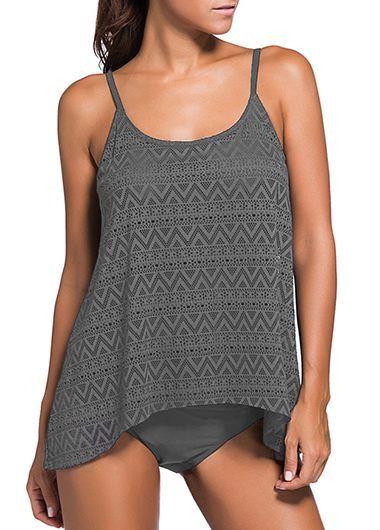 Open Back Deep Grey Tankini Set on sale only US$33.83 now, buy cheap Open Back Deep Grey Tankini Set at liligal.com